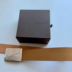 Tan Louis Vuitton Belt with Silver Buckle